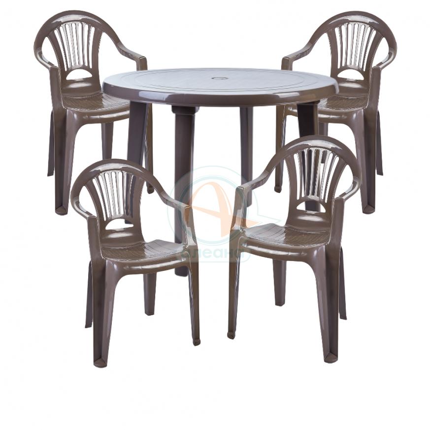Комплект кръгла маса с четири стола Лъч - капучино