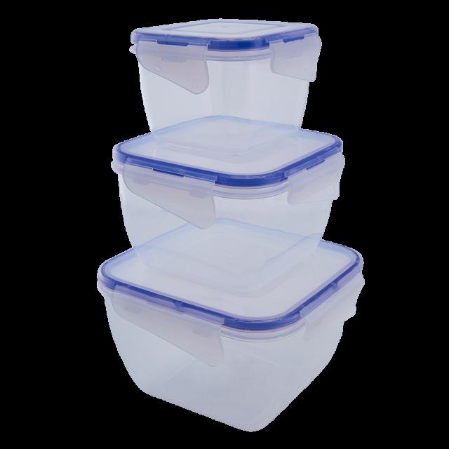 К-т кутии за хранителни продукти със закопчаване квадратни 3в1