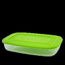 Кутия за хранителни продукти, правоъгълна, 1,5 л прозрачна/олива