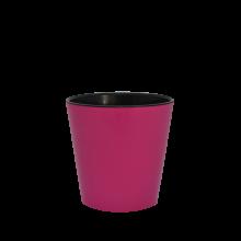 Саксия ДЕКО с двойно дъно 13,0х12,5 см.т.розово/черно