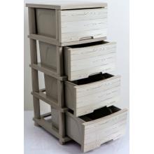 Шкаф с четири чекмеджета  и декор ДЪРВО / КРЕМ