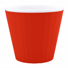 Саксия ИБИС с двойно дъно 15,7х13,0 см червено кадифе/бяла