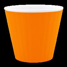Саксия ИБИС с двойно дъно 13,0х11,2 см оранж/бяла