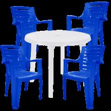 Комплект кръгла бяла маса с четири сини стола Рекс