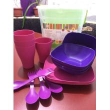 Комплект за пикник в кутия розов / лилав