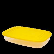 Кутия за хранителни продукти, правоъгълна, 1,5 л прозрачна/жълта