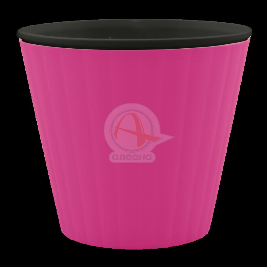 Саксия ИБИС с двойно дъно 15,7х13,0 см розова/черна