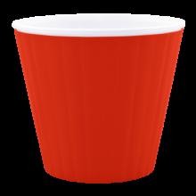 Саксия ИБИС с двойно дъно 17,9 х 14,7см.червено кадифе/бяла
