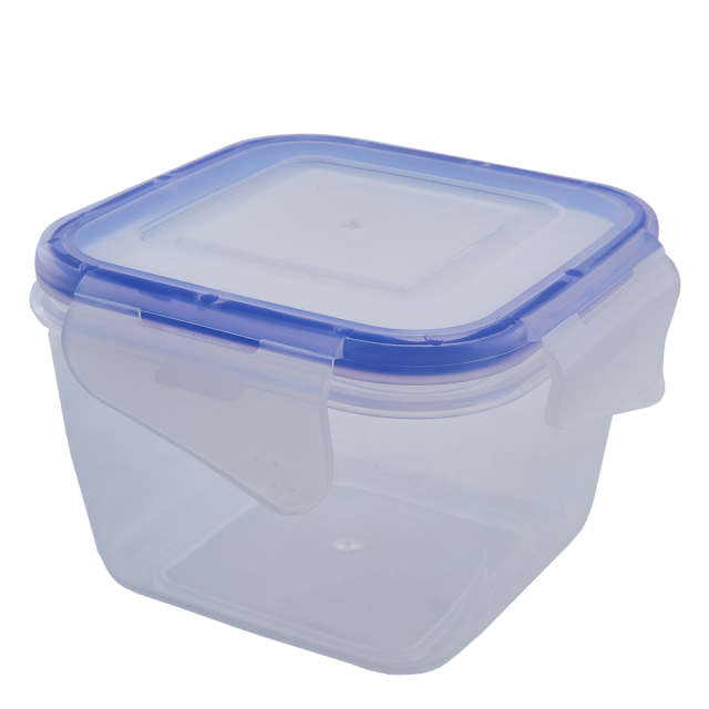 Кутия за хранителни продукти със закопчаване, квадратна 0,45л