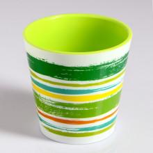 Саксия ДЕКО с двойно дъно и декор 13,0х12,5 см Цвят Зелен