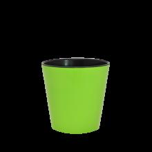 Саксия ДЕКО с двойно дъно 13,0х12,5 см.олива/черно
