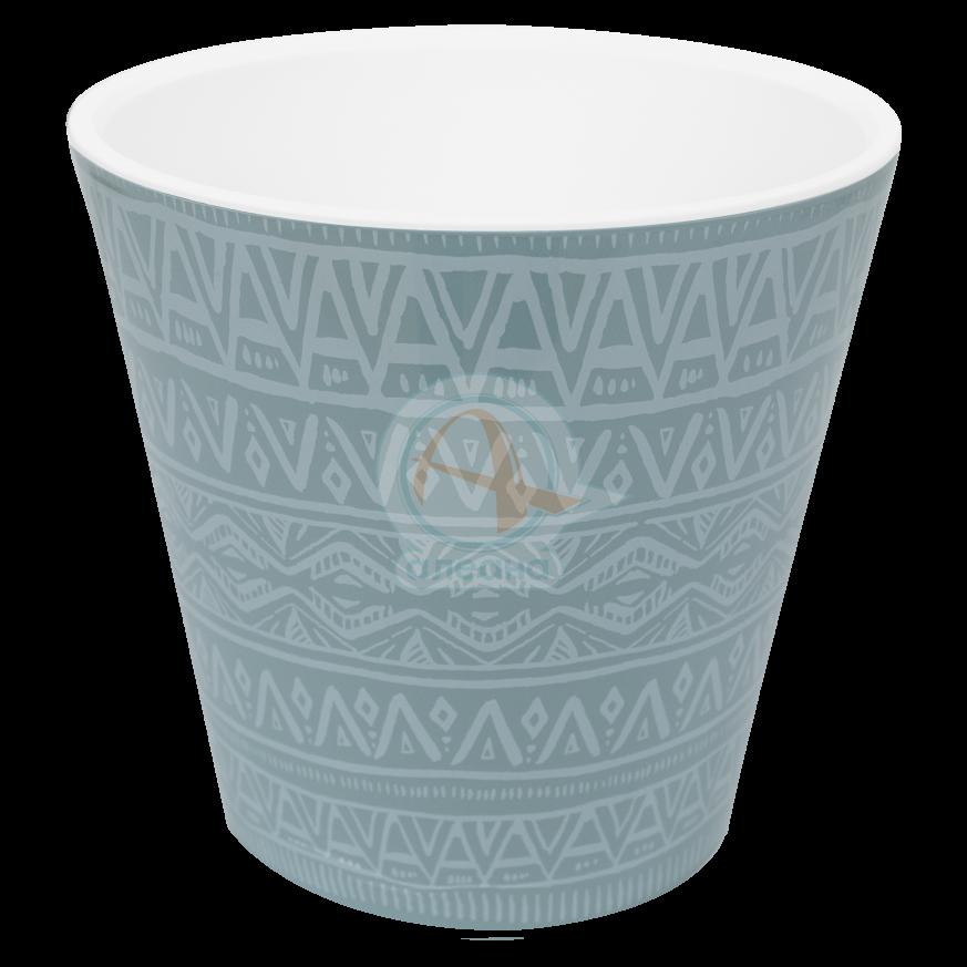 Саксия ДЕКО с двойно дъно и декор 16,0х15,5 см Etno ornament гълъбово синя