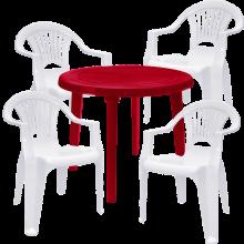 Комплект кръгла червена маса с четири бели стола Лъч