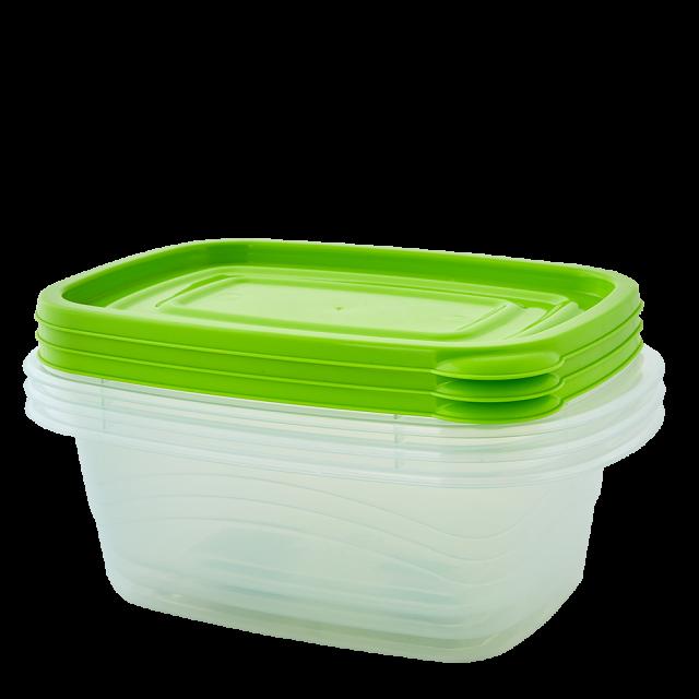 К-т контейнери за хранителни продукти ОМЕГА 1,8л(3бр) правоъгълни