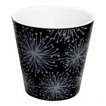 Саксия ДЕКО с двойно дъно и декор 16,0х15,5 см Etno flour черна