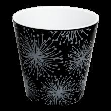Саксия ДЕКО Etno flour с двойно дъно и декор 13,0х12,5 см черна