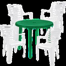 Комплект кръгла зелена маса с четири бели стола Рекс