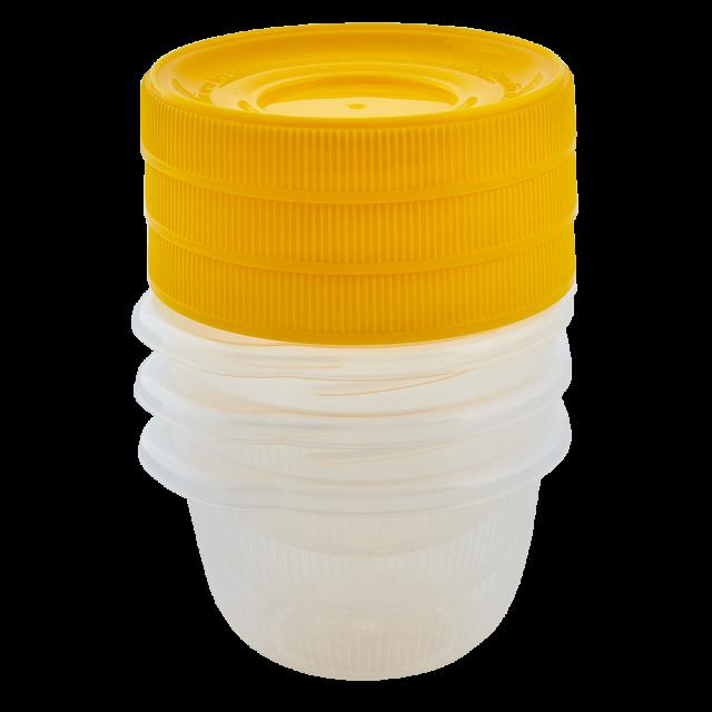 Комплект кръгли кутии с винт ОМЕГА  0,285л (3 бр)