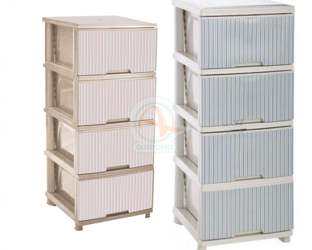 Шкаф с четири чекмеджета РАЙЕ -  Син и Розов
