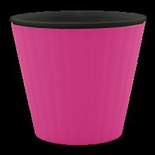 Саксия ИБИС с двойно дъно 17,9 х 14,7см.розова/черна