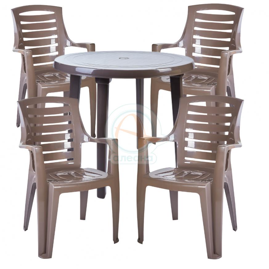 Комплект кръгла маса с четири стола Рекс капучино