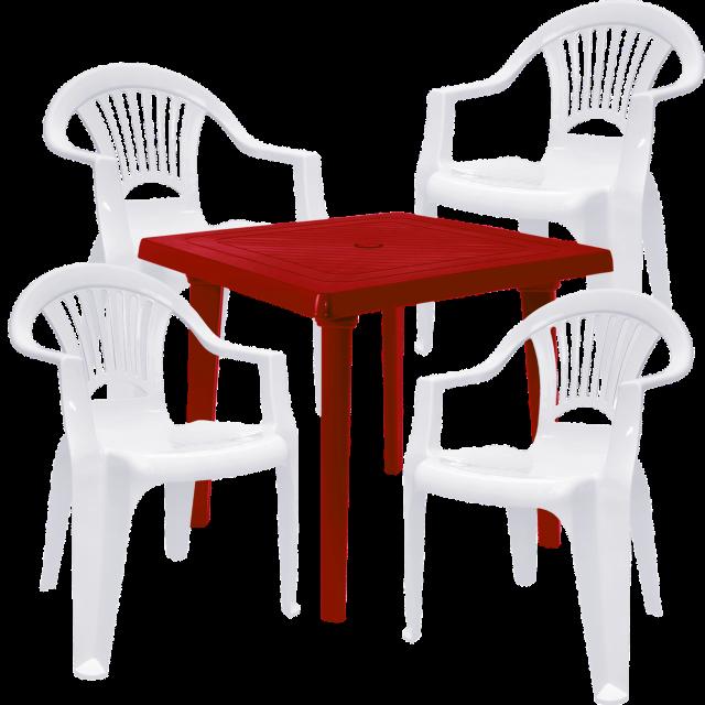 Комплект квадратна маса с четири стола Лъч