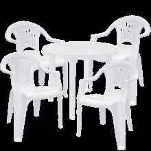 Комплект кръгла маса с четири стола Лъч - бели