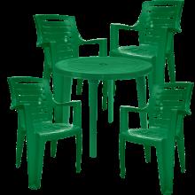 Комплект кръгла маса с четири стола Рекс зелен