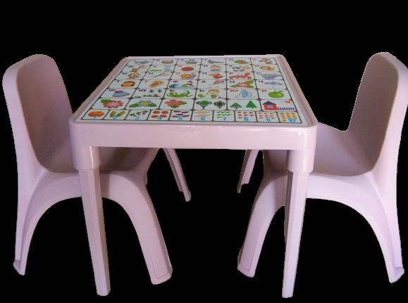 Комплект детска маса Българска азбука и две столчета фрезия