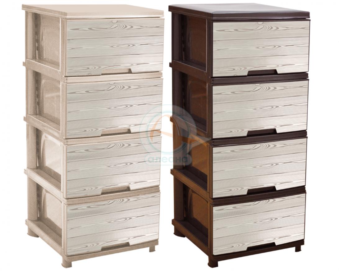 Шкаф с четири чекмеджета  и декор ДЪРВО