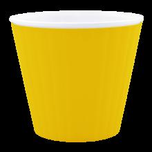 Саксия ИБИС с двойно дъно 17,9 х 14,7см.жълто/бяла