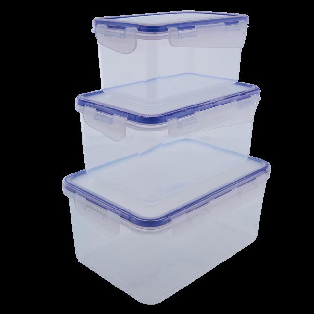 К-т кутии за хранителни продукти със закопчаване правоъгълни 3в1