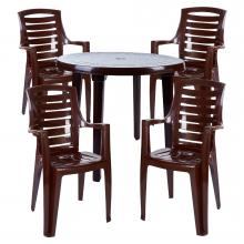 Комплект кръгла маса с четири стола Рекс шоколад