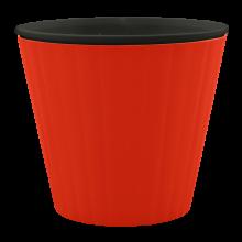 Саксия ИБИС с двойно дъно 15,7х13,0 см червено кадифе/черна
