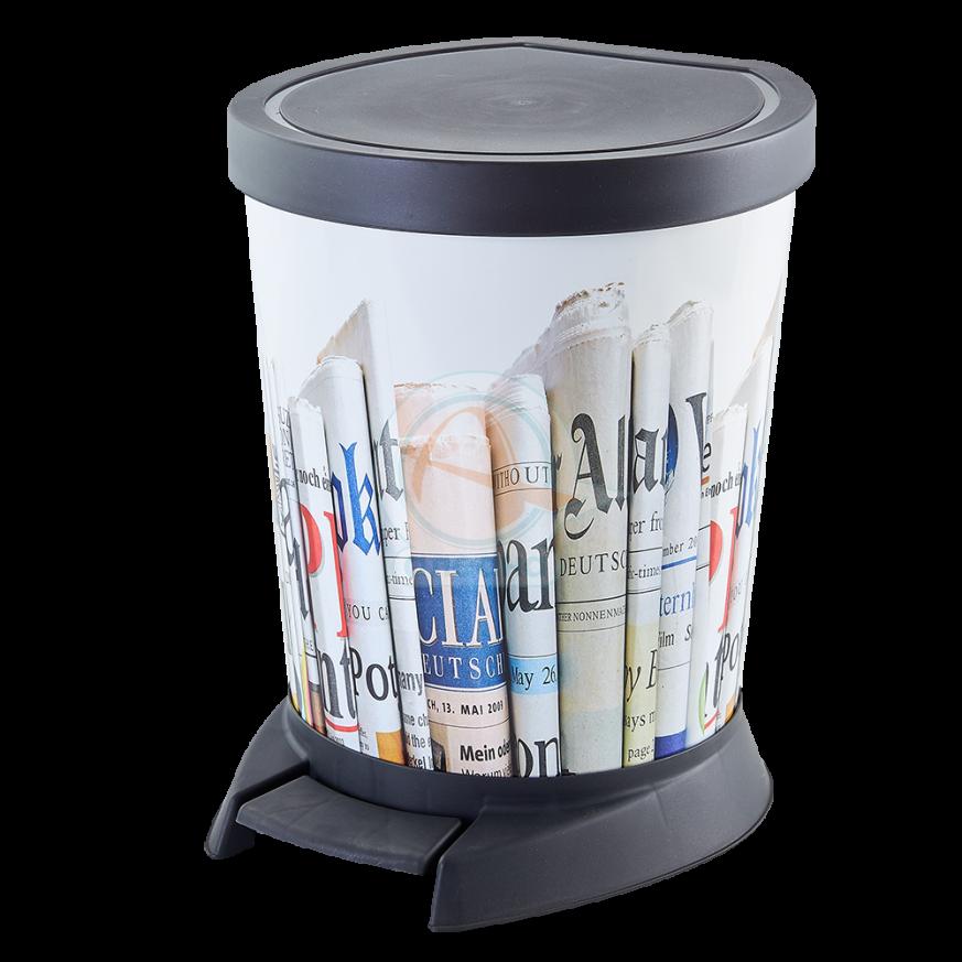 Кош за отпадъци с педал и декор 18 л Принт  вестник
