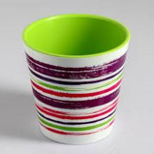 Саксия ДЕКО с двойно дъно и декор 13,0х12,5 см Цвят Фуксия