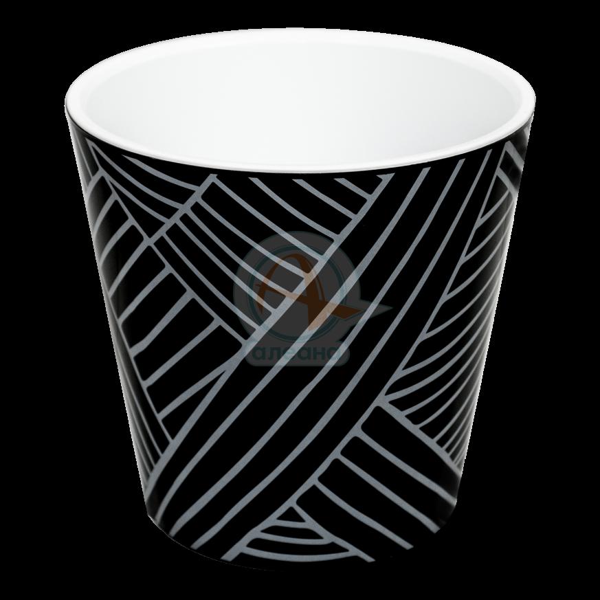 Саксия ДЕКО с двойно дъно и декор 13,0х12,5 см Etno loft черна