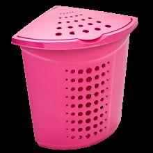 Кош за пране ъглов 45 литра т.розов