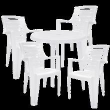 Комплект кръгла маса с четири стола Рекс бял