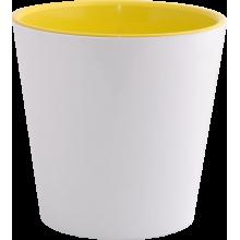 Саксия ДЕКО с двойно дъно 13,0х12,5 см.бяла/жълта