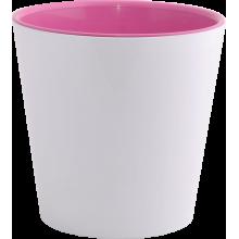 Саксия ДЕКО с двойно дъно 13,0х12,5 см.бяла/розова