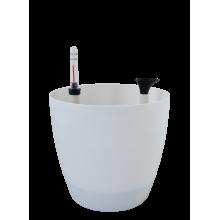 Саксия МАТИЛДА с напоителна с-ма 16*14,5 см бяла