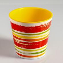 Саксия ДЕКО с двойно дъно и декор 13,0х12,5 см Цвят Оранж