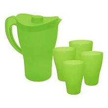 Комплект Кана с чаши зелен прозрачен