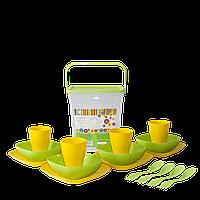 Комплект за пикник в кутия жълт/олива