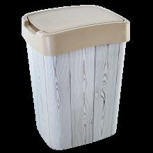 Кош Евро за отпадъци с декор 10 л крем/дърво