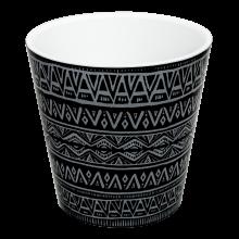 Саксия ДЕКО с двойно дъно и декор 13,0х12,5 см Etno ornament черна