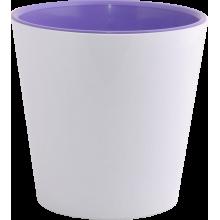 Саксия ДЕКО с двойно дъно 13,0х12,5 см.бяла/тъмен люляк