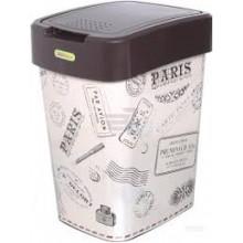 Кош Евро за отпадъци с декор 10 л кафяв/Париж