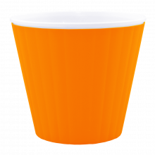 Саксия ИБИС с двойно дъно 15,7х13,0 см св.оранж/бяла